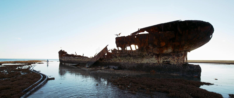 Czapli wyspy shipwreck zdjęcia stock