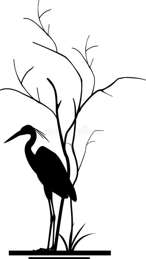 Czaplia i drzewna sylwetka royalty ilustracja
