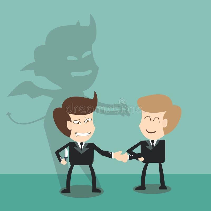 Czarci cień za partnerami biznesowymi - zły partnera pojęcie ilustracji