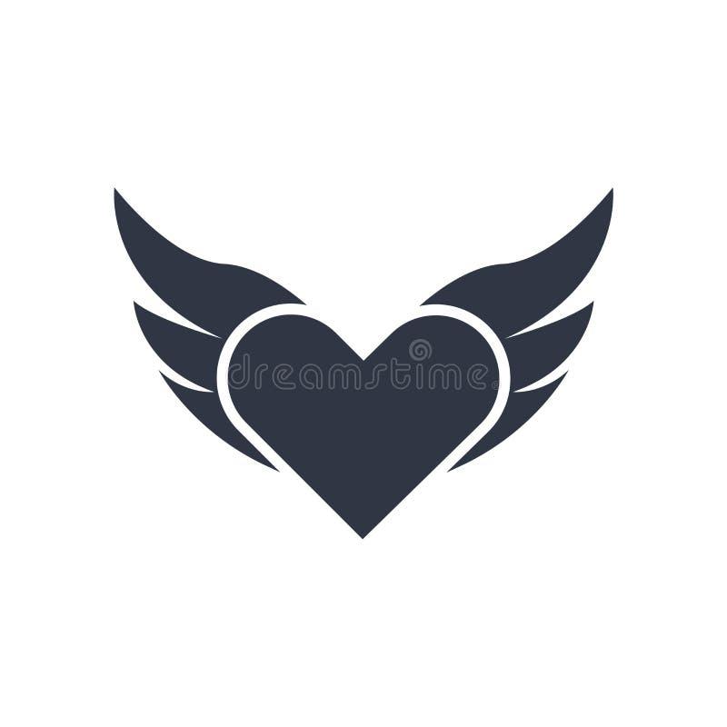 Czarci serce z skrzydło ikony wektoru znakiem i symbol odizolowywający na białym tle, Czarci serce z skrzydło logo pojęciem ilustracji