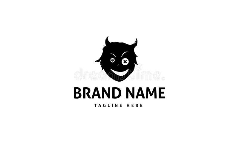 Czarciej twarzy logo abstrakcjonistyczny czarny wektorowy projekt royalty ilustracja