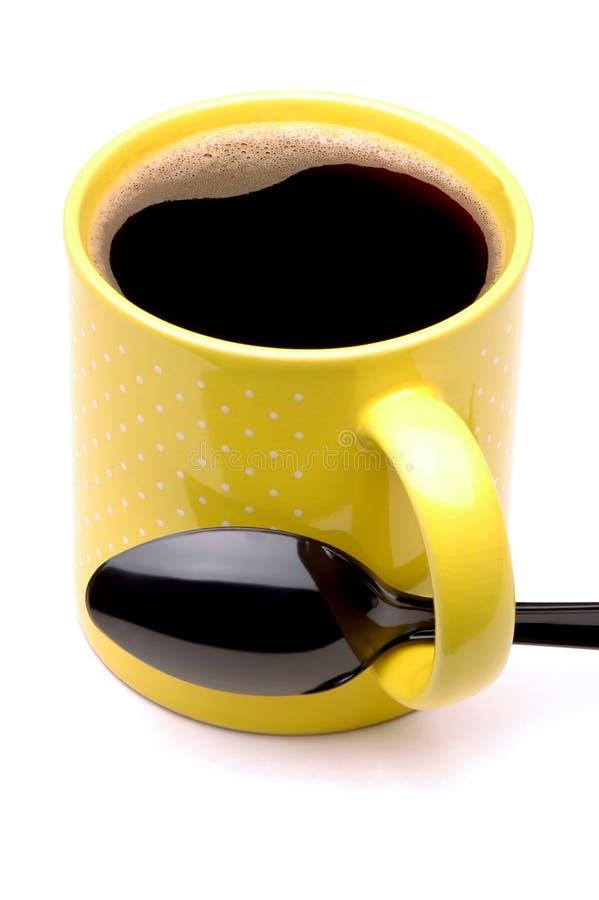 czarną kawę spoon kubek obrazy royalty free