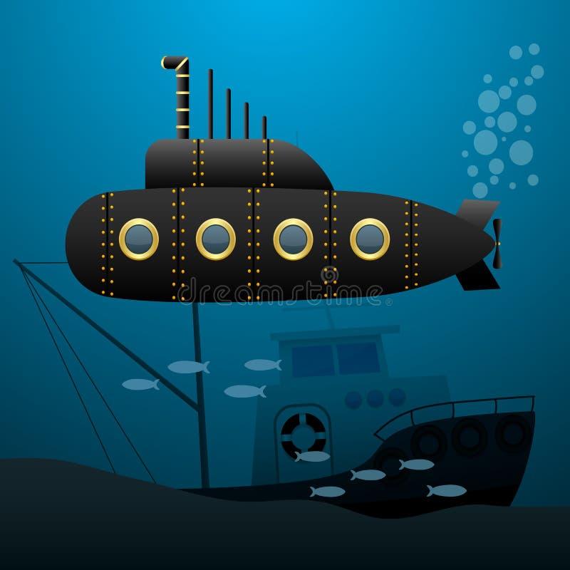 Czarna łódź podwodna żegluje podwodnego Zapadnięty statek na dnie morskim kreskówka wizerunek ściągania ilustracj wizerunek przyg royalty ilustracja