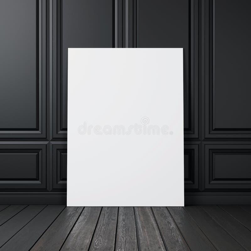 Czarna ściana z pustym plakatem obraz royalty free