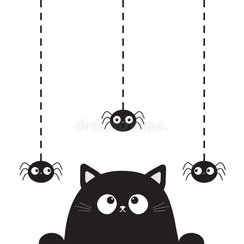 Czarna śliczna kot figlarki twarzy głowa patrzeje na wiszącym pająku Junakowanie linia Łapa druk Kreskówki kiciuni śmieszny chara royalty ilustracja