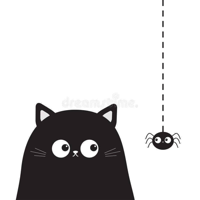 Czarna śliczna siedząca kot figlarki twarzy głowa patrzeje na wiszącym pająku Kreskówki kiciuni śmieszny charakter Kawaii zwierzę ilustracji