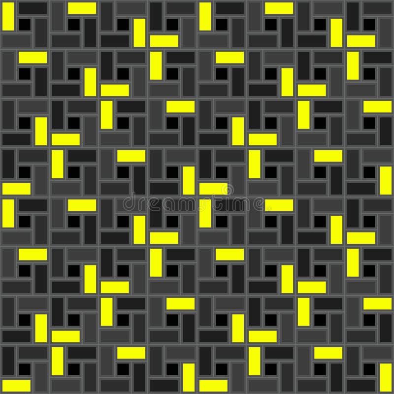 Czarna żółta cegły spirali płytki tekstura bezszwowa clockwise tupocze ilustracji