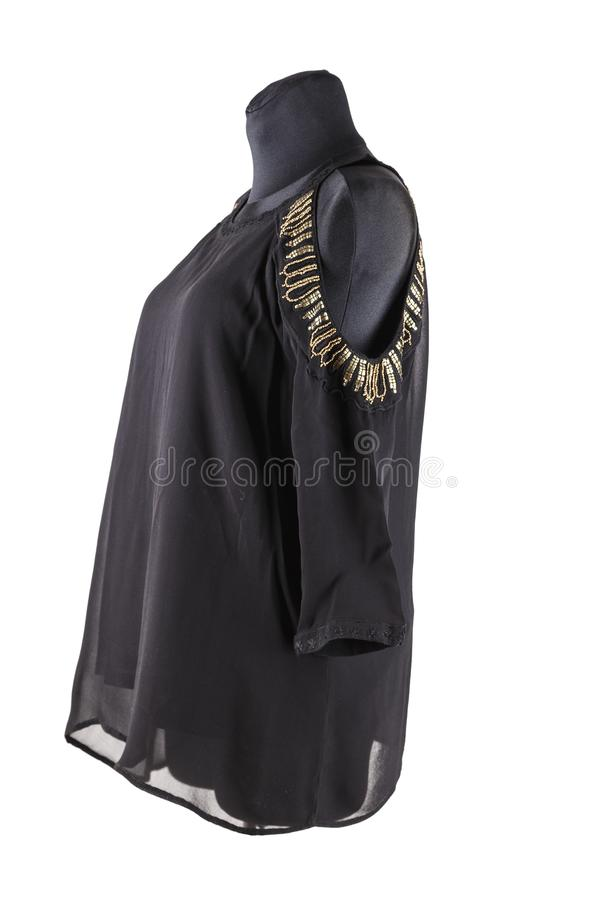 Czarna żeńska tunika z broderią na ramionach na mannequin lub bluzka zdjęcia royalty free