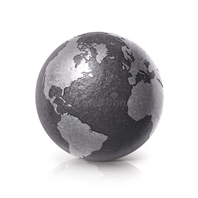Czarna żelazna kuli ziemskiej 3D północ i południe Ameryka ilustracyjna mapa ilustracji