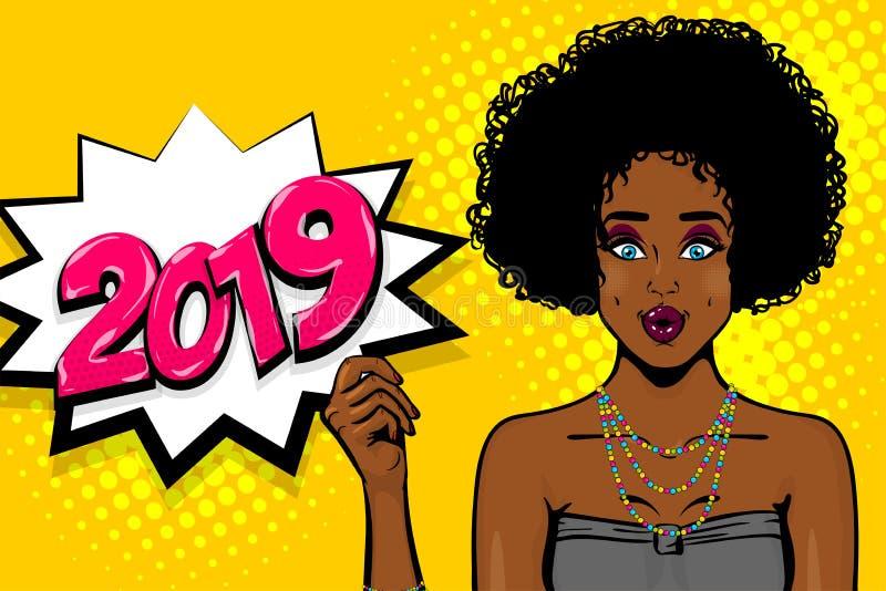Czarna afroamerykańska młoda dziewczyna wystrzału sztuka ilustracja wektor