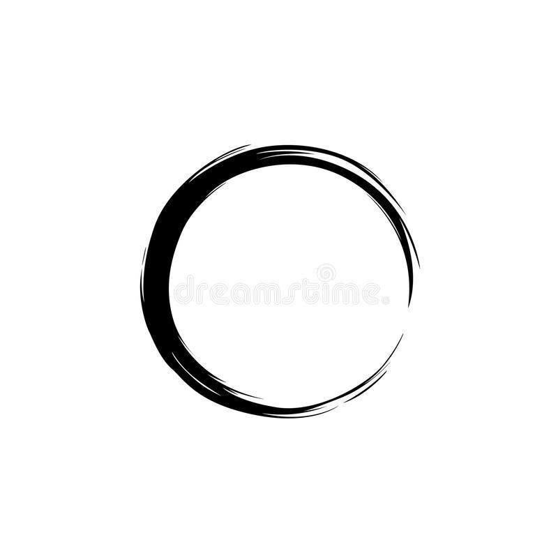 Czarna akwarela, ręki Zen Rysunkowy okrąg, wektor zdjęcia stock