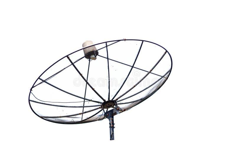Czarna antena satelitarna odizolowywająca na białym tle obrazy stock