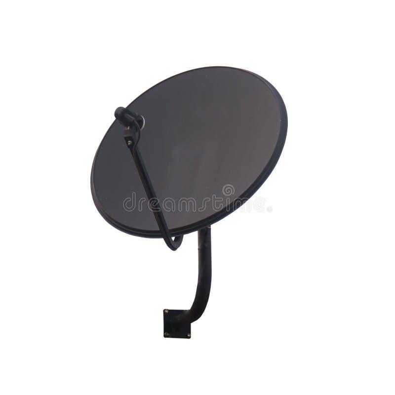Czarna anteny satelitarnej antena odizolowywająca na białym tle obraz royalty free
