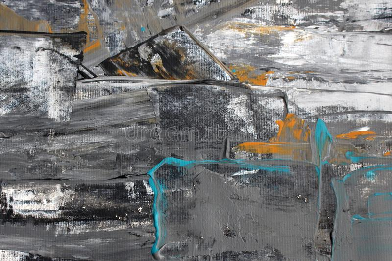 Czarna biała abstrakcja z akrylową farbą ilustracja wektor