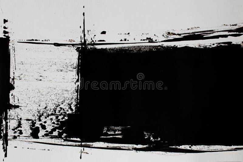 Czarna biała abstrakcja z akrylową farbą royalty ilustracja