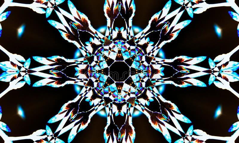 Czarna, biała i błękitna gwiazdkowata mandala sztuka, royalty ilustracja