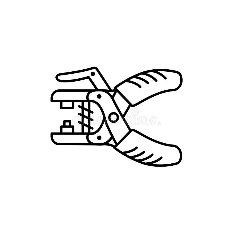 Czarna & biała wektorowa ilustracja grommet cążki Kreskowa ikona o ilustracji