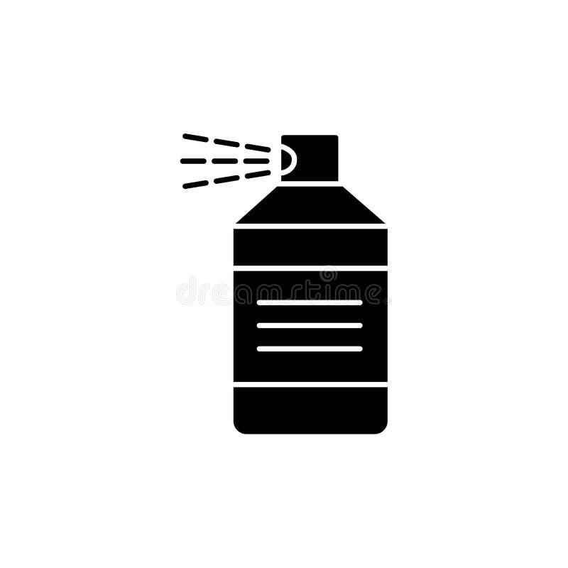 Czarna & biała wektorowa ilustracja laki, lakieru lub farby kiść w butelce, Płaska ikona materiał dla rękodzieła, woodwork, ilustracji