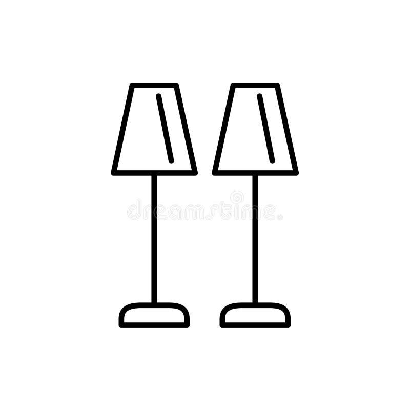 Czarna & biała wektorowa ilustracja para bufet stołowe lampy ilustracji