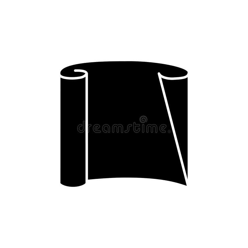 Czarna & biała wektorowa ilustracja przejrzysty kalkowanie papier Płaska ikona materiał dla architekta, projektant, inżynier tech royalty ilustracja