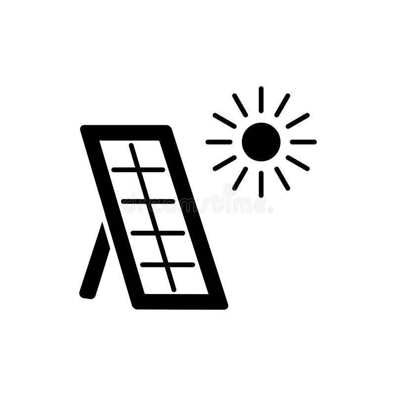 Czarna & biała wektorowa ilustracja słoneczny termiczny panel Dom ilustracja wektor