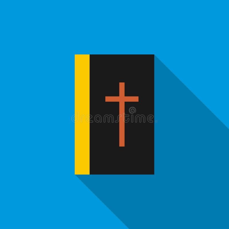Czarna biblii książki ikona, mieszkanie styl royalty ilustracja