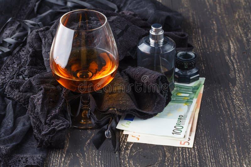 Czarna bielizna z pieniądze fotografia stock