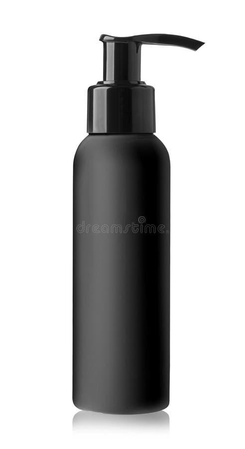 Czarna butelka ciekły mydło obraz stock
