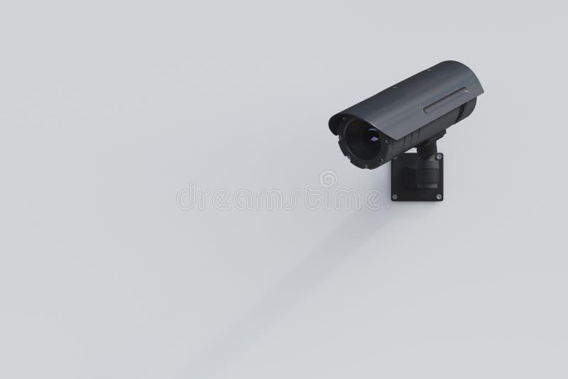 Czarna CCTV kamera na białej ścianie ilustracja wektor