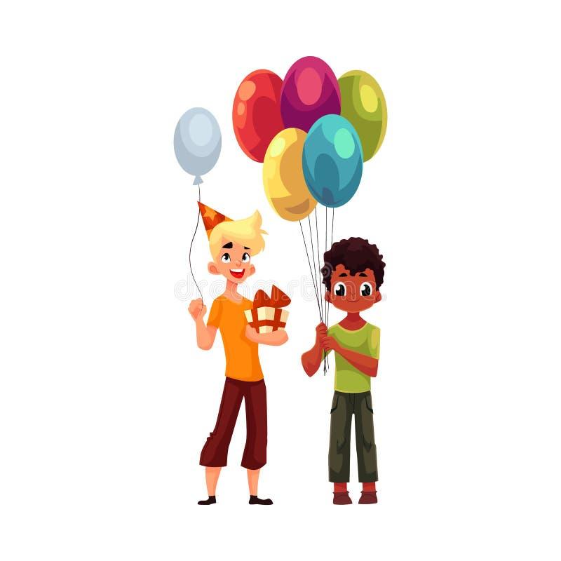 Czarna chłopiec z balonami, Kaukaski nastolatek trzyma urodzinowego prezent royalty ilustracja