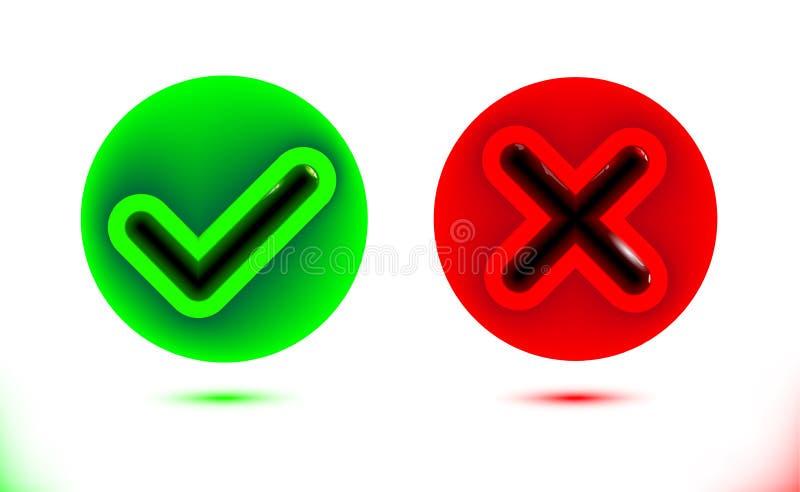 Czarna checkmark, crosshair ikona w okręgach i Cwelicha ustalony symbol Nowożytnego infographics ui kolorowy ornamentacyjny eleme royalty ilustracja