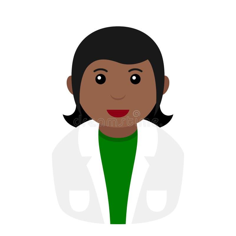 Czarna chemik kobiety Avatar mieszkania ikona ilustracji