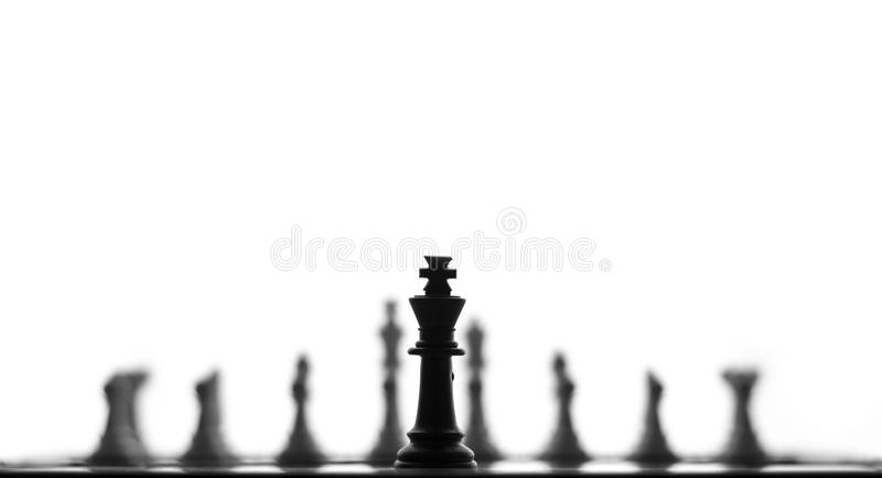 czarna chess pola króla głębokości kawałek płytki fotografia stock