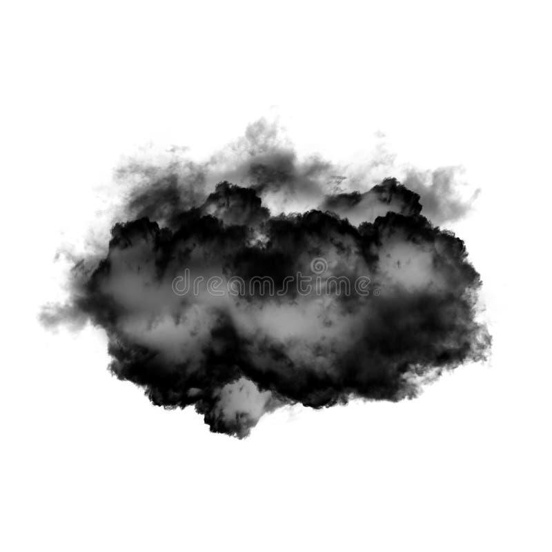 Czarna chmura lub dym odizolowywający nad białym tłem fotografia royalty free