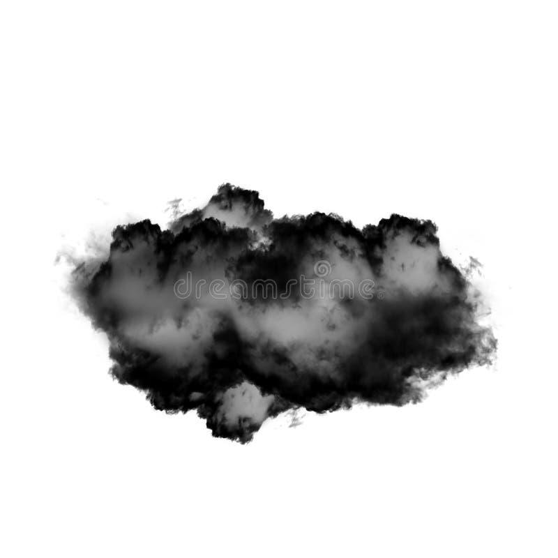 Czarna chmura lub dym odizolowywający nad białym tłem obrazy stock