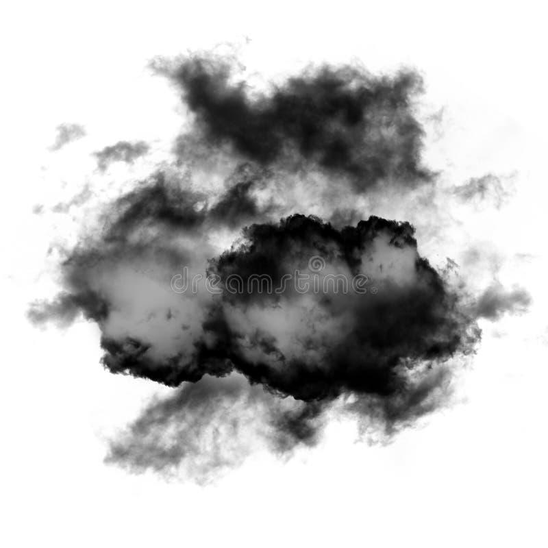 Czarna chmura lub dym odizolowywający nad białym tłem ilustracji