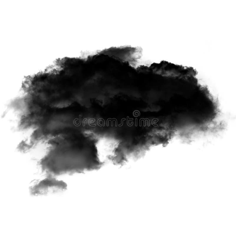 Czarna chmura lub dym odizolowywający nad białym tłem zdjęcia stock