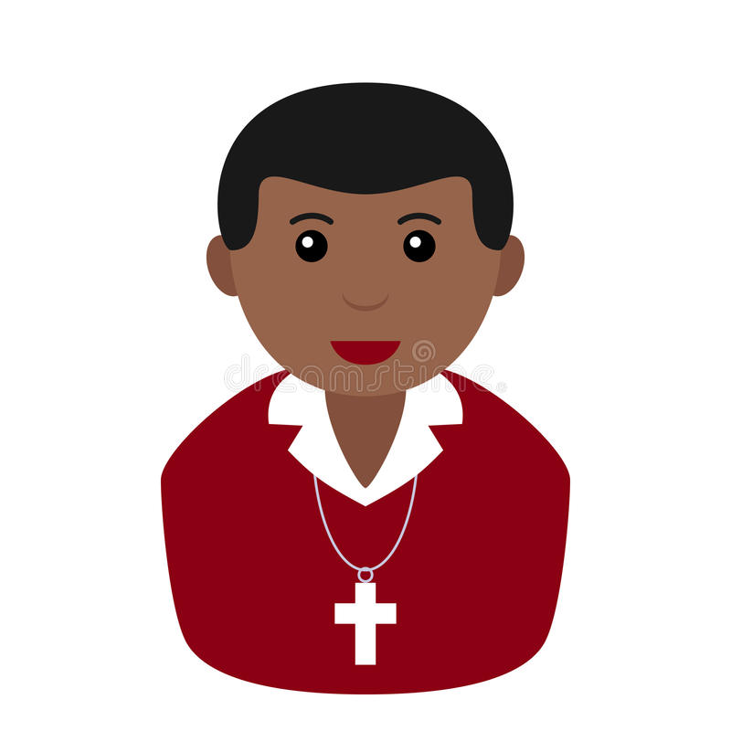 Czarna Chrześcijańska chłopiec Avatar mieszkania ikona royalty ilustracja