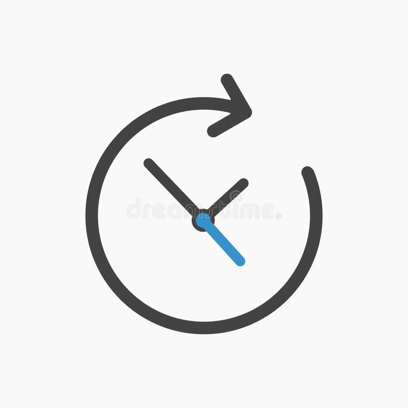 Czarna czasu zegaru ikona z czarną i błękitną strzałą royalty ilustracja
