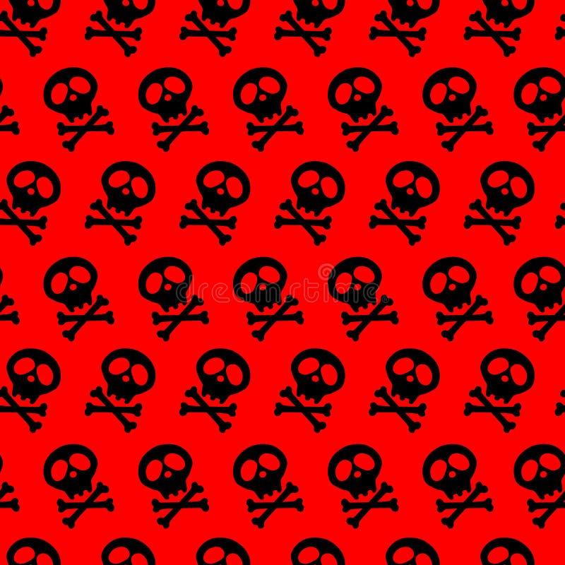 Czarna czaszka i kości krzyżujący również zwrócić corel ilustracji wektora bezszwowa tło czerwień jad goths halloween dekoracja i royalty ilustracja