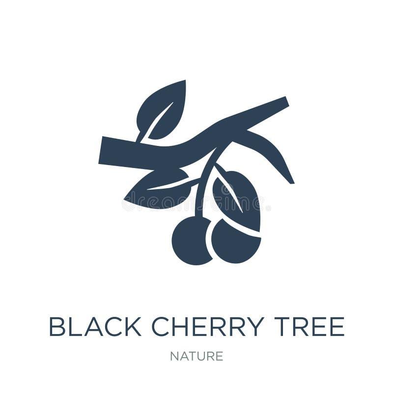 czarna czereśniowego drzewa ikona w modnym projekta stylu czarna czereśniowego drzewa ikona odizolowywająca na białym tle czarna  ilustracji