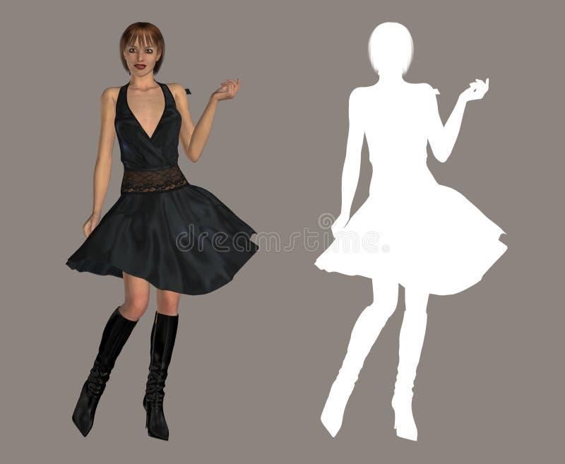 Download Czarna dama ilustracji. Obraz złożonej z suknia, glitz - 2211218