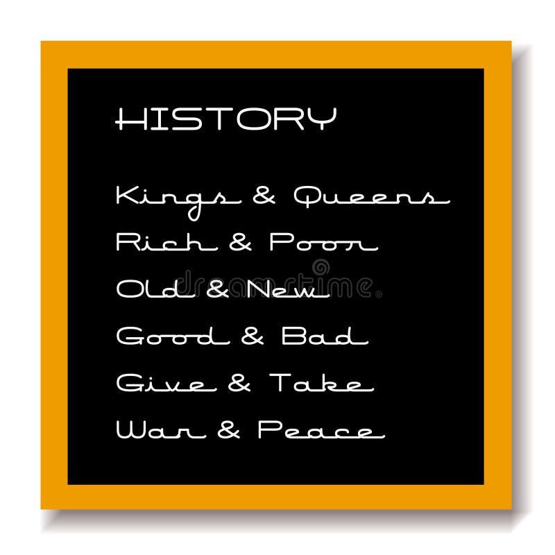 czarna deskowa edukacji historii royalty ilustracja