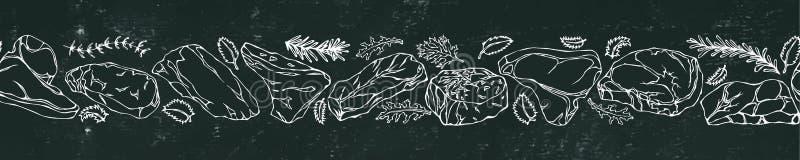 Czarna Deskowa kreda i tło Faborek Popularni stków typ Steakhouse restauraci menu szczotkarski węgiel drzewny rysunek rysujący rę ilustracja wektor