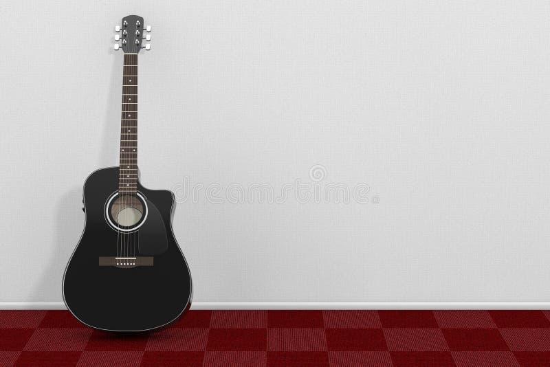 Czarna Drewniana gitara akustyczna w pokoju z czerwony chodnik podłoga i W ilustracji
