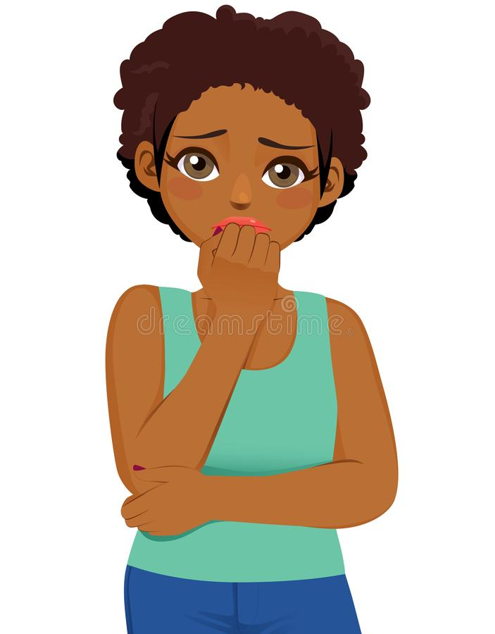 Czarna dziewczyna Straszący wyrażenie ilustracja wektor