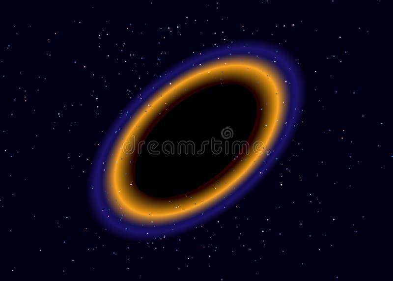 Czarna dziura nad gwiazdowym polem w kosmosie Abstrakcjonistyczny t?o wszech?wiat i benzynowy przekrwienie ?limakowatego galaxy p ilustracji