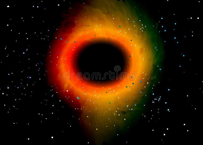 Czarna dziura nad gwiazdowym polem w kosmosie Abstrakcjonistyczny t?o wszech?wiat i benzynowy przekrwienie ?limakowatego galaxy p ilustracja wektor