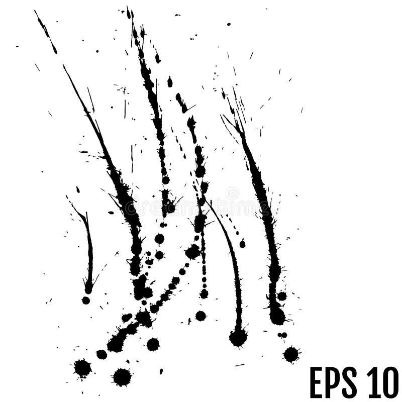 Czarna farba, atramentu pluśnięcie, muśnięcie atramentu kropelki, zaplamia Czarny atramentu splatter tło, odizolowywający na biał ilustracji