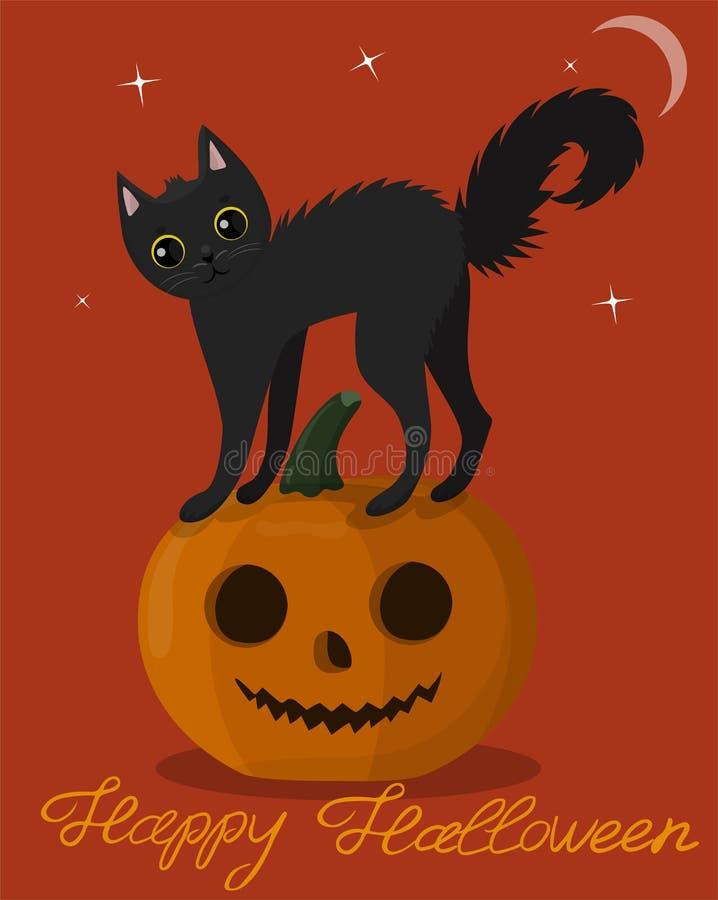 Czarna figlarka na Halloween bani Kartka z pozdrowieniami Halloween niezr?wnowa?enie ilustracji
